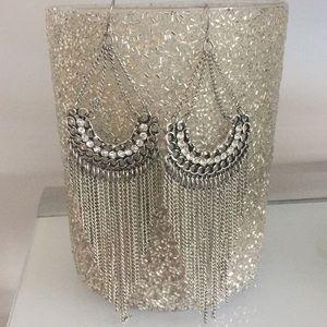 Bebe silver dangle earring bling
